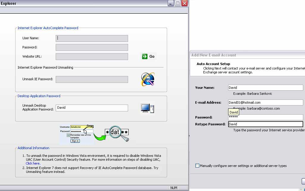 Internet explorer password recovery and windows applications